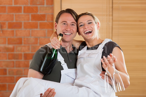 Stock photo: Couple moving in new apartment renovating