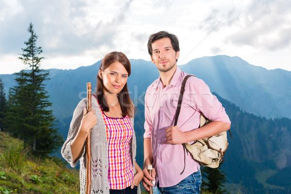 Alps - Couple hiking in the Bavarian mountains Stock photo © Kzenon