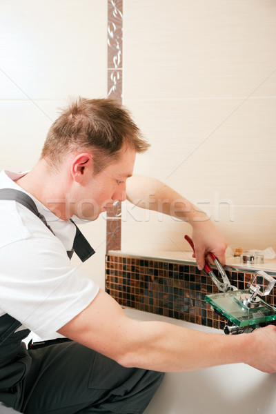 Loodgieter mixer tik badkamer vergadering Stockfoto © Kzenon