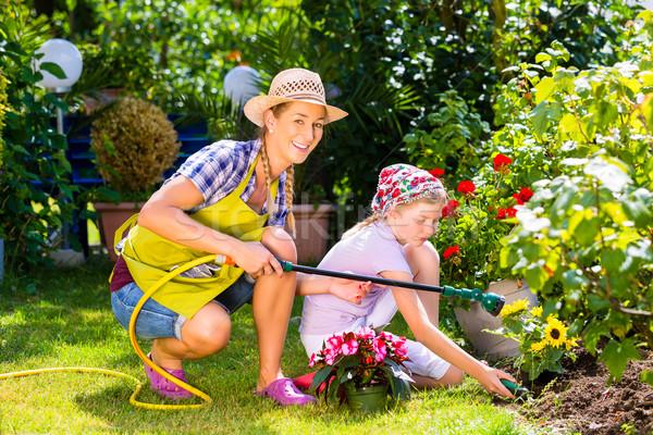 Anya gyermek locsol virágok kert nő Stock fotó © Kzenon