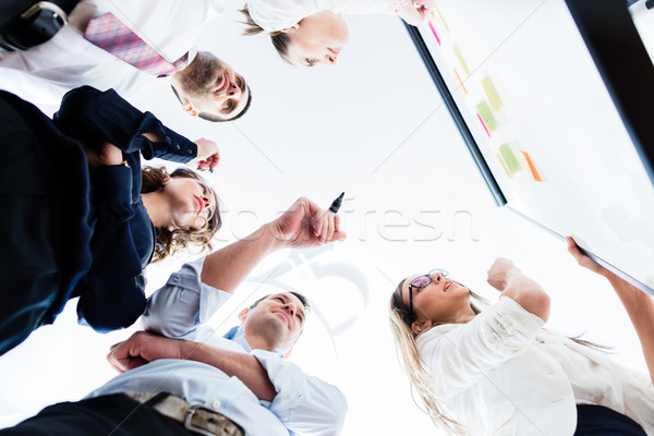 Group of business people in office at creative brainstorming Stock photo © Kzenon