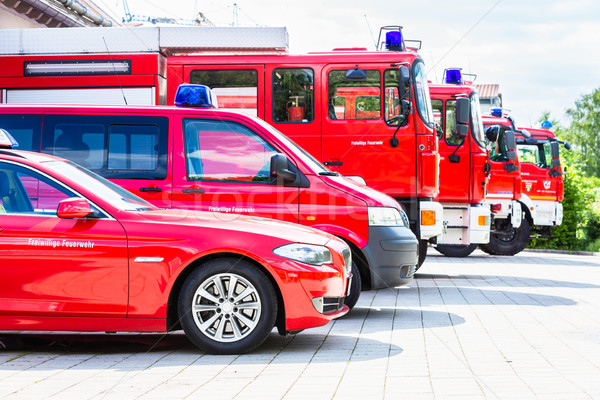 Vehicle fleet of the voluntary fire brigade Stock photo © Kzenon