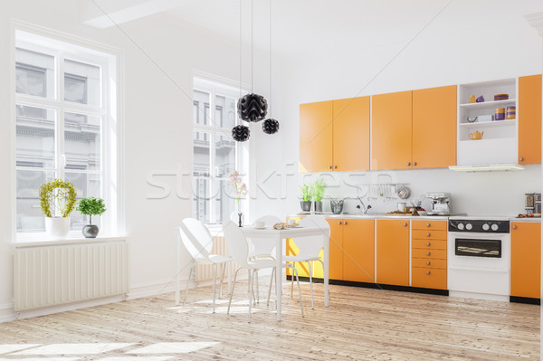 3d rendering of kitchen interior in modern home with dinner tabl Stock photo © Kzenon