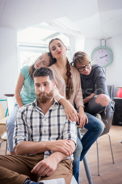 Sleepy young people suffering of depression or workplace demotivation Stock photo © Kzenon
