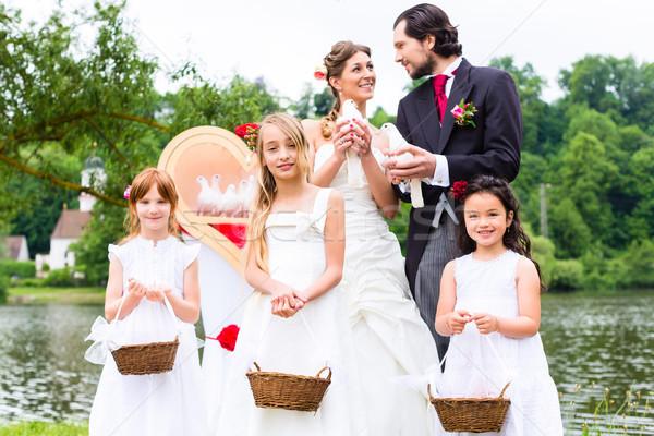 Wedding Coppia fiore bambini sposa Foto d'archivio © Kzenon