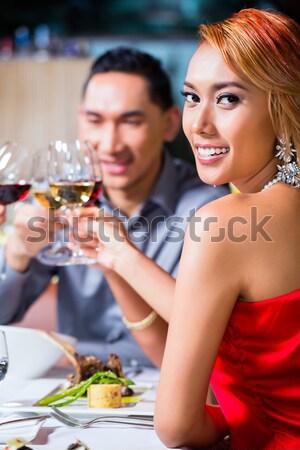 Férfi nő borospince pár kóstolás vörösbor Stock fotó © Kzenon