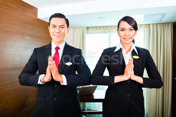сотрудников приветствие азиатских отель портрет персонал отеля Сток-фото © Kzenon