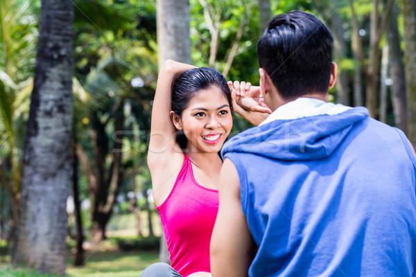 Asia mujer hombre gimnasia Pareja Foto stock © Kzenon