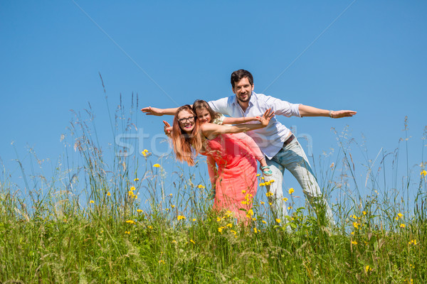 Stock photo: Family doing the plane on summer meadow