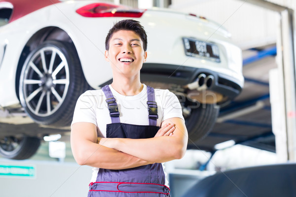 Car mechanic working in Asian Chinese auto workshop  Stock photo © Kzenon