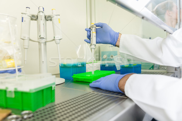 Research operator working with pipette in science lab Stock photo © Kzenon