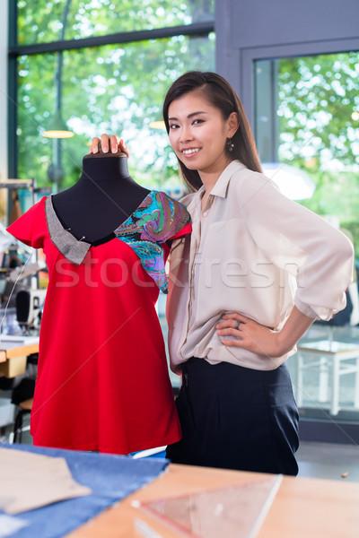 ázsiai szabó ruhadarab terv próbababa stúdió Stock fotó © Kzenon