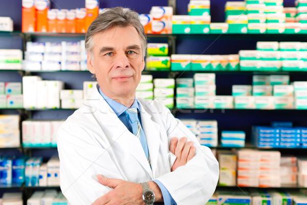 Farmaceuta apteki portret okulary doświadczony Zdjęcia stock © Kzenon