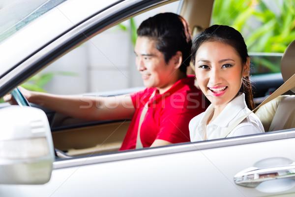 Asian para jazdy podjazd kobieta Zdjęcia stock © Kzenon