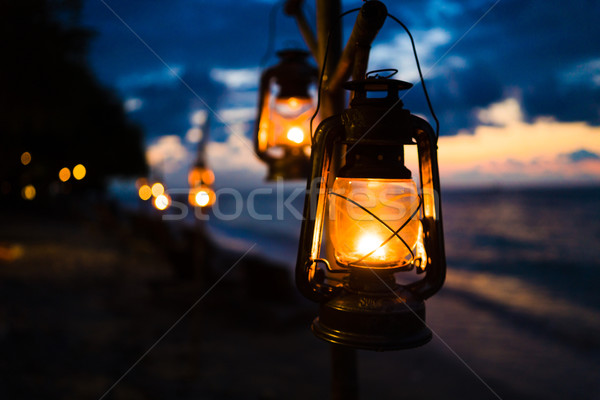 закат острове пляж романтические сцена Сток-фото © Kzenon