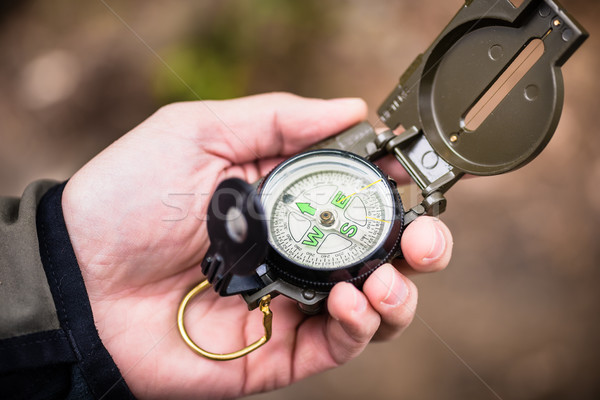 Hiker using compass Stock photo © Kzenon