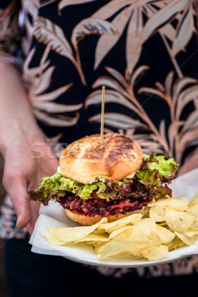 гамбургер картофельные чипсы белый пластина служивший Сток-фото © Kzenon