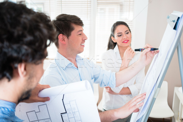 Architects talk about construction plans at flipchart Stock photo © Kzenon