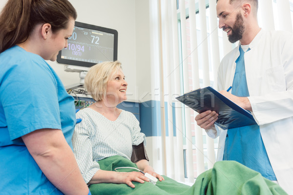 Doctor and nurse talking to patient in recovery room of hospital Stock photo © Kzenon