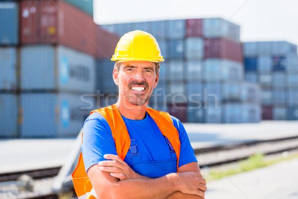 Stockfoto: Werknemer · rij · haven · permanente · bedrijf