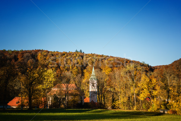 Little baroque church or chapel in front of colorful forest in fall Stock photo © Kzenon