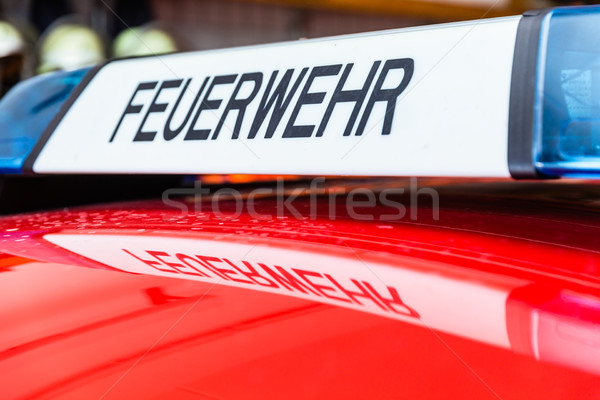 Bluelights and siren on german fire engine Stock photo © Kzenon