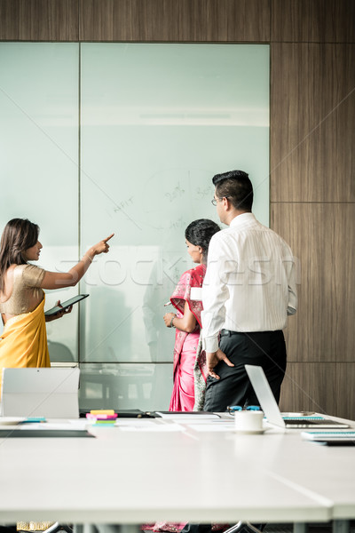 Three Indian colleagues writing ideas during brainstorming Stock photo © Kzenon