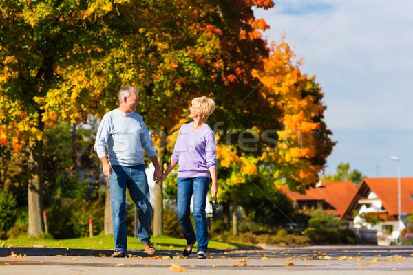 Zdjęcia stock: Jesienią · spadek · spaceru · strony · starszy · para