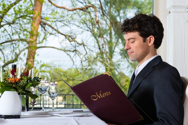üzletember ebéd étterem férfi üzletemberek üzlet Stock fotó © Kzenon