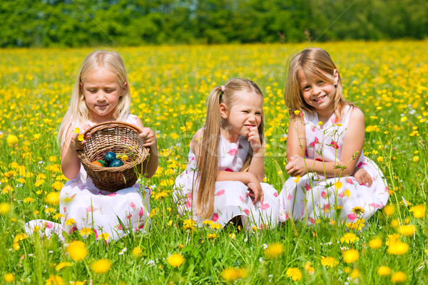 çocuklar easter egg hunt yumurta çayır bahar Paskalya Stok fotoğraf © Kzenon