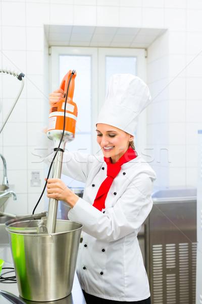 Chef preparing ice cream with food processor  Stock photo © Kzenon
