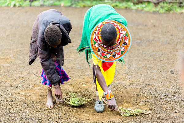 Massai women sweeping the floor doing chores Stock photo © Kzenon