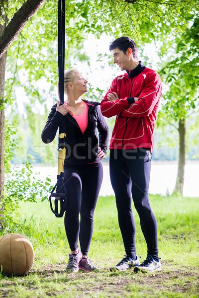 Pár törik csúzli képzés boldog sport Stock fotó © Kzenon
