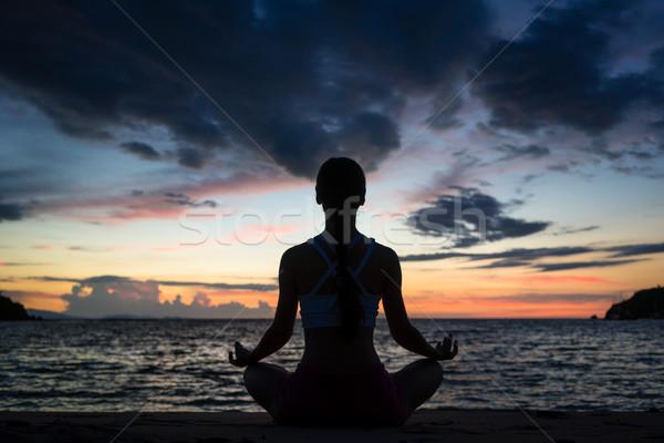 соответствовать женщину сидят Lotus положение Сток-фото © Kzenon