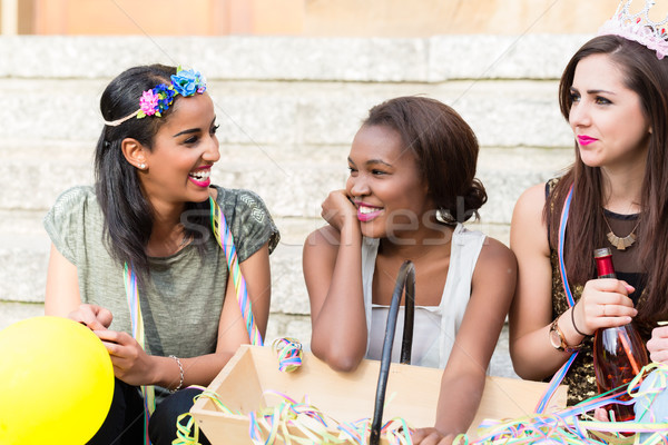 Girls celebrating together on bachelorette party Stock photo © Kzenon