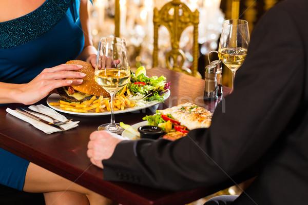 Mutlu çift romantik tarih restoran adam Stok fotoğraf © Kzenon
