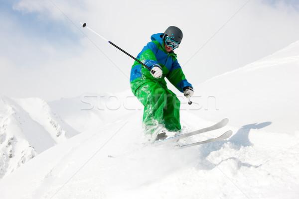 Man skiing downhill Stock photo © Kzenon