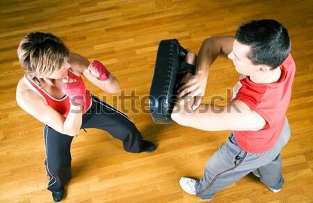 Küzdősportok pár testmozgás képzés erő bizalom Stock fotó © Kzenon