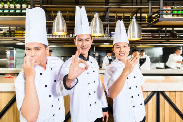 азиатских Повара приготовления ресторан портрет три Сток-фото © Kzenon