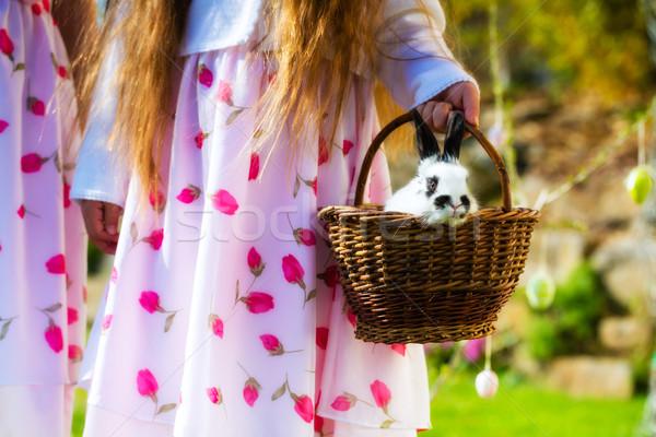 çocuklar easter egg hunt tavşan bahar çayır easter bunny Stok fotoğraf © Kzenon