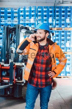 Travailleurs logistique entrepôt liste équipe Photo stock © Kzenon