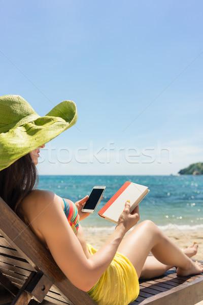 Unentschieden Lesung Buch Zeit Internet Stock foto © Kzenon