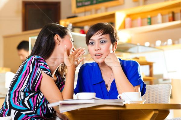 Young women in an Asian coffee shop Stock photo © Kzenon