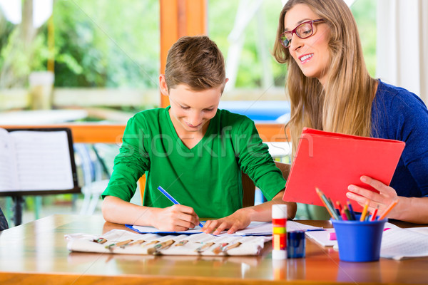 Mother helping son with homework assignment Stock photo © Kzenon
