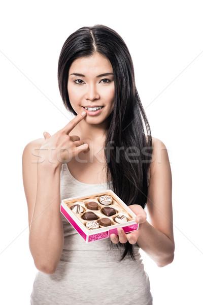 Fiatal nő mosolyog tart doboz fiatal ázsiai Stock fotó © Kzenon