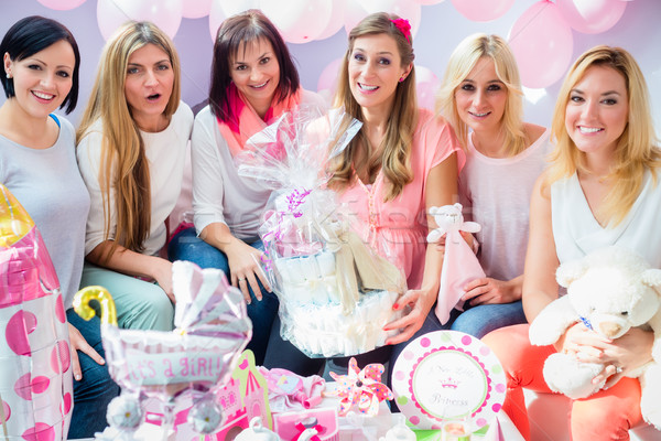 Expecting Mother with presents on baby shower party Stock photo © Kzenon