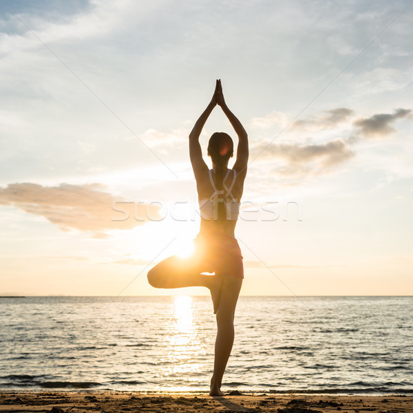 Silhouette of a woman practicing the tree yoga pose on a beach a Stock photo © Kzenon