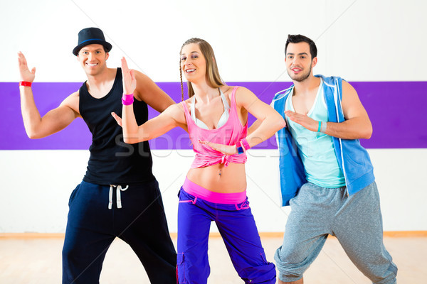 Stockfoto: Danser · zumba · fitness · opleiding · dans · studio