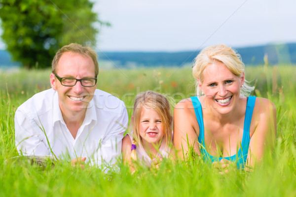 Family laying on grass of lawn or field Stock photo © Kzenon