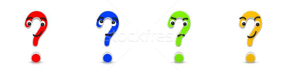 3D Rendering of four funny interrogation marks Stock photo © Kzenon